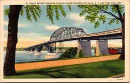 New York Buffalo Peace Bridge Crossing Niagara River Curteich - Buffalo