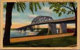 New York Buffalo Peace Bridge Crossing Niagara River 1947 Curteich - Buffalo