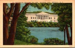 New York Buffalo Delaware Park Lake And Historical Building 1951 - Buffalo
