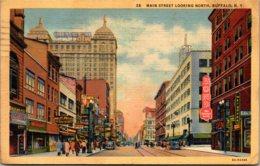 New York Buffalo Main Street Looking North 1940 Curteich - Buffalo