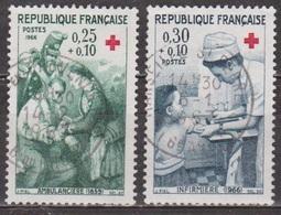 Croix-rouge: Ambulance De Campagne, Infirmière - FRANCE - N° 1508-1509 - 1966 - Oblitérés