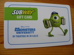 Subway Gift Card USA - Disney, Monsters University - Cartes Cadeaux