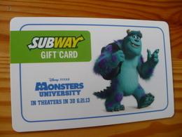 Subway Gift Card USA - Disney, Monsters University 2013 - Cartes Cadeaux