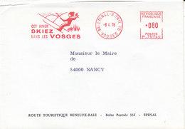 EMA Skiez Dans Les Vosges ,lettre De La Route Touristique Benelux-Bâle à Epinal , Vosges ,1976, - Poststempel (Briefe)