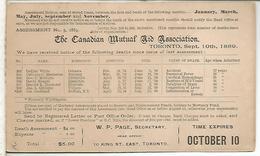 CANADA TORONTO 1889 ENTERO POSTAL CANADIAN MUTUAL AID TARJETA DEFUNCIONES DEATH ENFERMEDAD - Enfermedades