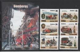 Cuba 2006 Kuba Mi 4871-4876 + Block 219(4877) Fire Trucks / Feuerwehrfahrzeuge MNH/** - Voitures
