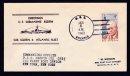 "US NAVY, USS  REDFIN (SS-272) 1963,""ATLANTIC FLEET"" !! Cachet , Look Scan, RARE !! 6.7-63 - Sous-marins"