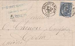 1879-Cachet CHALON S/ MARNE Sur Type Sage 15c & Cachet Convoyeur CHALONS à PARIS A - Marcophilie (Lettres)