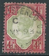 1887-92 GREAT BRITAIN USED JUBILEE SG 206 4 1/2d GREEN AND CARMINE - F31-5 - 1840-1901 (Viktoria)