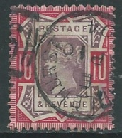 1887-92 GREAT BRITAIN USED JUBILEE SG 210 10d DULL PURPLE AND CARMINE - F19-10 - 1840-1901 (Victoria)