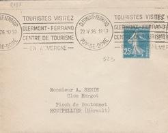 """LSC 1926 - Flamme """"Touristes Visitez CLERMONT FERRAND Centre De Tourisme En Auvergne Sur YT 140 - Marcophilie (Lettres)"""