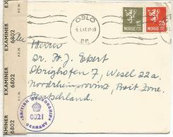 NORUEGA OSLO 1947 CC A ALEMANIA OCUPADA CON CENSURA BRITANICA - Cartas