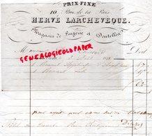 75- PARIS- RARE FACTURE 1842- HERVE LARCHEVEQUE-MAGASIN LINGERIE DENTELLES-10 RUE DE LA PAIX-DENTELLE - 1800 – 1899