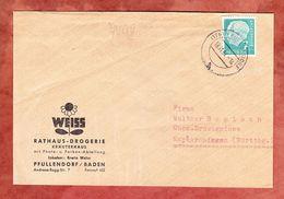 Illustrierter Umschlag Heilpflanze?, EF Heuss, Pfullendorf Nach Markgroeningen 1954 (70018) - BRD