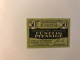 Allemagne Notgeld Zwickau 50 Pfennig - [ 3] 1918-1933 : République De Weimar