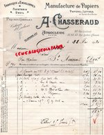 16 - ANGOULEME -FACTURE MANUFACTURE  PAPIERS PAPETERIE IMPRIMERIE-A.CHASSERAUD -20 RUE COULOMB-1930 - Papierwaren