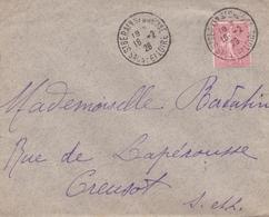 FRANCE LETTRE SAINT BERAIN SUR DHEUNE SEMEUSE LIGNEE N° 199 50C ROUGE - Marcophilie (Lettres)
