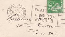 FRANCE LETTRE FONTENAY SOUS BOIS FUMEZ DES CIGARETTES GITANES TYPE PAIX N° 367 90C VERT SEUL SUR LETTRE - Marcophilie (Lettres)