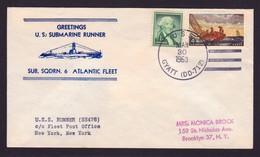 """US NAVY, USS  REDFIN (SS-272) 1963,""""ATLANTIC FLEET"""" !! Cachet , Look Scan, RARE !! 25.6-25 - Duikboten"""
