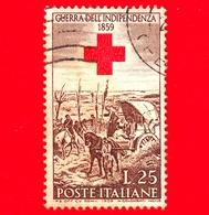 """ITALIA - Usato - 1959 - Centenario Della II Guerra D'Indipendenza - 25 L. - Dipinto """"Il Campo Italiano - Croce Rossa - 6. 1946-.. Repubblica"""