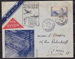 1ER VOL AIR BLEU POSTALE LE TOUQUET PARIS 4/7/1936 F. MULLER 95 YT311 750 PLIS - Airmail