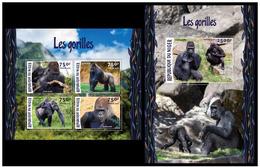 Niger 2015 Fauna Monkeys Gorillas Klb + S/s MNH - Gorilles