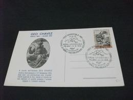 AVIATORE GEO CHAVEZ PARIGI 1883 DOMO 1910  ANNULLO 65 ANNIVERSARIO TRASVOLATA ALPI DOMODOSSOLA - Aviatori
