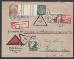 Deutsches Reich Einschreiben Nachnahme Brief 1937 Braunschweig Nach Hanau Zusammendruck ZD KZ27.1 + W144  Lot 1296 - Germania