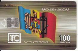 MOLDOVA - Flag, Cathedral, Moldtelecom Telecard 100 Units, Tirage 30000, 09/95, Used - Moldova
