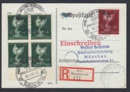 Deutsches Reich Einschreiben Postkarte Sonderstempel Späte Post 16.01.1945 Berlin Nach München  Lot 1360 - Deutschland