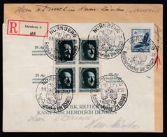 Deutsches Reich Einschreiben Brief Blockfrankatur BL 11 1937 Nürnberg Nach Hann. Münden Lot 1375 - Deutschland