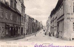 CPA Rare, Trebnitz I. Schies, Langestrasse, Rue Animée, Commerces - Poland