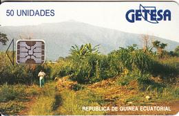 EQUATORIAL GUINEA - Landscape(reverse B, Matt Surface), Chip SC5, CN : 00410, Used - Equatoriaal Guinea