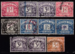 GB Porto Ab 1914 - Lot 11 X Mit Versch. Wasserzeichen  Used - Portomarken
