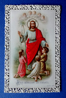 IMAGE PIEUSE...RELIGIEUSE . CANIVET ....VÊTEMENTS EN SOIE....JÉSUS BÉNISSANT LES ENFANTS - Images Religieuses