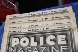 Les 4 Premiers Numéro De POLICE MAGAZINE 1930 - Police & Gendarmerie