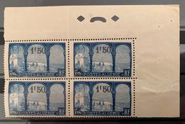 ALGÉRIE / ALGERIA 1927 - YT77** - BLOC DE 4, VUE PRISE DE MUSTAPHA SUPERIEUR (Cdf) - Algérie (1924-1962)