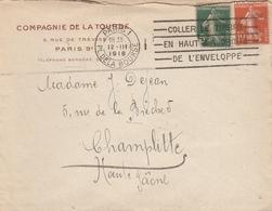 LSC 1918 - Entête Compagnie De La Tourbe Paris - Cachet Paris Pl De La Bourse - Au Dos Champlitte (Haute Saone) - 1877-1920: Periodo Semi Moderno