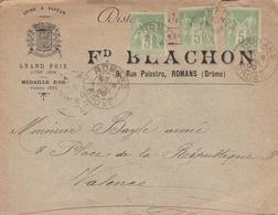 LSC 1900 - Distillerie Fd BLACHON à ROMANS (Drome) - Cachets ROMANS Sur Timbres Type Sage 5c Verts - Marcophilie (Lettres)