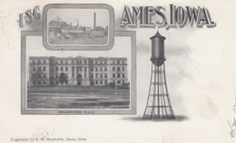 Ames Iowa, Iowa State College Train Engine Water Tower Engineering Hall Campus Views, C1900s Vintage Postcard - Ames
