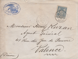 LSC 1884 - Entête La New York Cie D'assurance Sur La Vie - Cachet PARIS DEPART Sur Timbre Type Sage 15c - Marcophilie (Lettres)