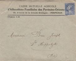 LAC 1937 Caisse Mutuelle Agricole D'Allocations Familiales Pyrénées Orientales à  PERPIGNAN & Timbre Préolitéré YT 52 - 1921-1960: Periodo Moderno