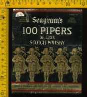 Etichetta Vino Liquore Whisky Seagram's 100 Pipers - Scozia - Etichette