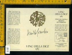 Etichetta Vino Liquore Vino Della Pace 1985 Arnaldo Pomodoro - Etichette