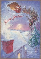 Santa Claus Is Bringing Christmas Presents With Reindeer Sleigh On The Sky - Santa Claus