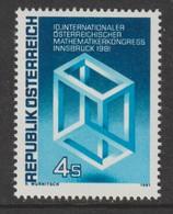 Mathematik 1121) Österreich 1981 Mi# 1680 **: Unmöglicher Würfel (nach Escher) (Mathematiker Kongress Geometrie) - Wissenschaften
