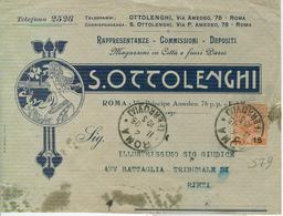OTTOLENGHI-ROMA-BUSTA COMMERCIALE FIGURATA,ERINNOFILO COOPERATIVA ITALIANA ALBERGHI,MILANO-FLOREALE Cent.15/20, - Italia