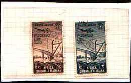 91468) AFRICA ORIENTALE ITALIANA-2 L.+2,50 L. Aratro Ed Aereo- AEREOESPRESSI-SERIE COMPLETA USATA - Africa Oriental Italiana