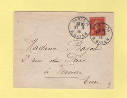 Type Semeuse - 5+5c Croix Rouge Seul Sur Lettre - Paris - 27-8-1914 - 1877-1920: Période Semi Moderne