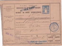 MANDAT DE POSTE INTERNATIONAL REPUBLIQUE FRANÇAISE LA SOMME $1.46 A CHILE, JUIL 1895 - BLEUP - Marcophilie (Lettres)